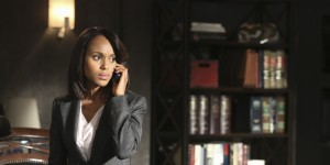 "SCANDAL - ""Guess Who's Coming to Dinner"" - Through flashbacks we learn more about Olivia's estranged relationship with her father. Meanwhile, both the White House and  Pope & Associates are still in the middle of cleaning up the very big and very public mess they created, on ""Scandal,"" THURSDAY OCTOBER 10 (10:00-11:00 p.m., ET) on the ABC Television Network. (Photo by Danny Feld/ABC via Getty Images) KERRY WASHINGTON"