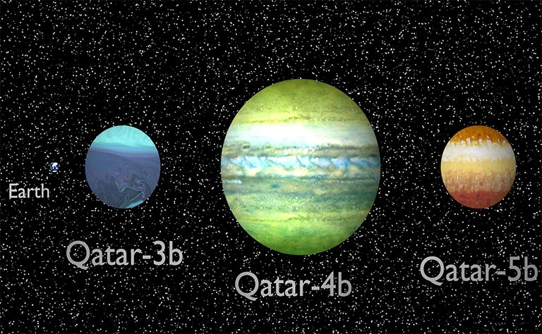 Artist envision of the 3 newly discovered exoplanets