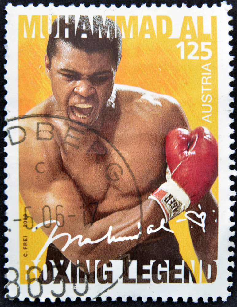 Muhammad Ali memorable postal stamp, Muhammad Ali Tribute to a Legend willbe on display at the Museum of Islamic Art in Qatar
