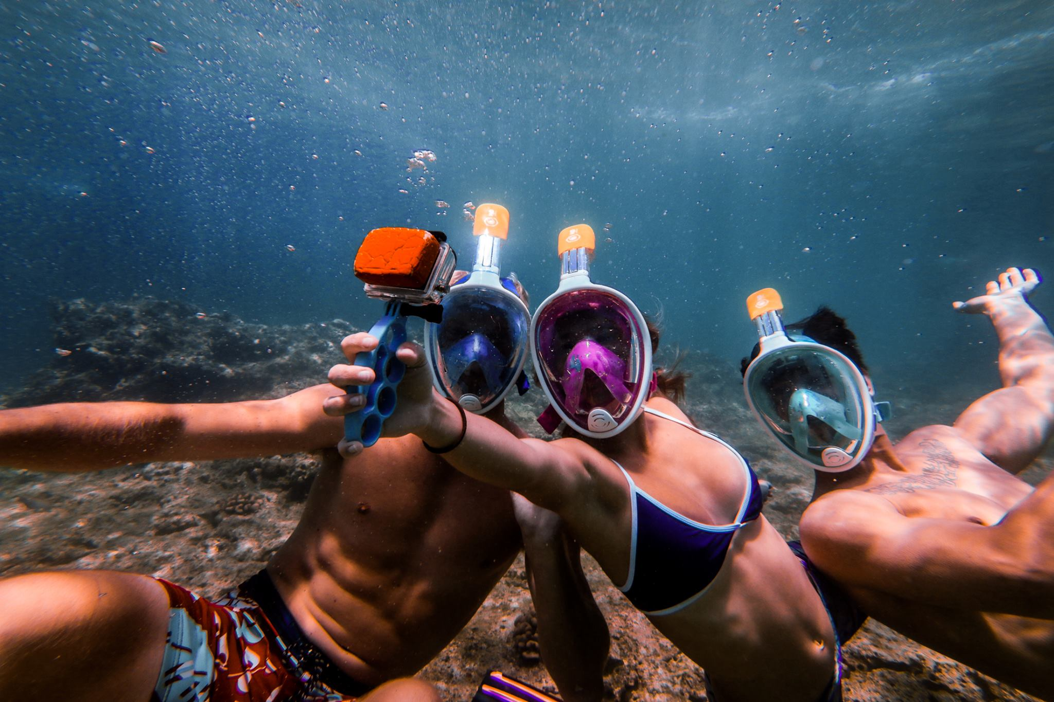 Divers taking a selfie in the H20 Ninja Mask