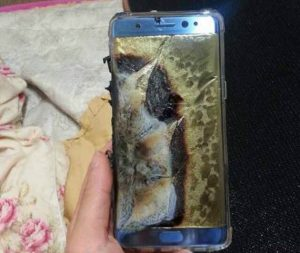 An exploded Samsung Note 7