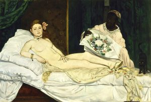 """Manet's famous painting, """"Olympia"""" from 1863, depicted a prostitute wearing a black ribbon around her neck"""