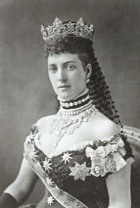 Queen Alexandra, the Princess of Wales wearing a choker of pearls and velvet