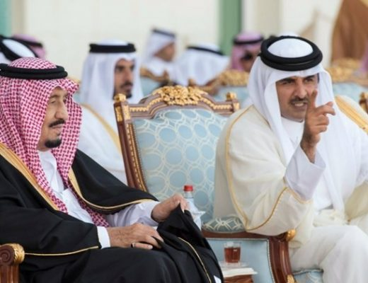 King Salman of Saudi Arabia and Emir Sheikh Tamim bin Hamad Al Thani of Qatar
