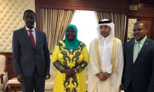 qatars-minister-of-administrative-development-labor-and-social-affairs-dr-eisa-saad-aljafali-al-naimi-during-a-meeting-with-his-ugandan-counterpart-hajjat-janat-mukawa-in-doha