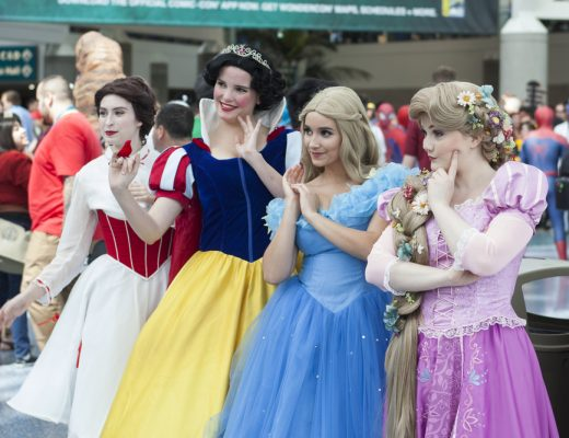 Cosplayers dressed up as Disney princesses at the annual WonderCon comic and entertainment convention in Los Angeles