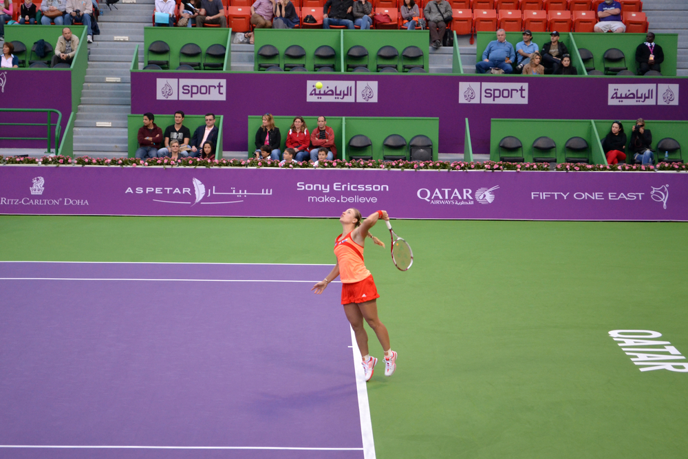 Former world number one, the German Angelique Kerber at the Qatar Total Open 2016