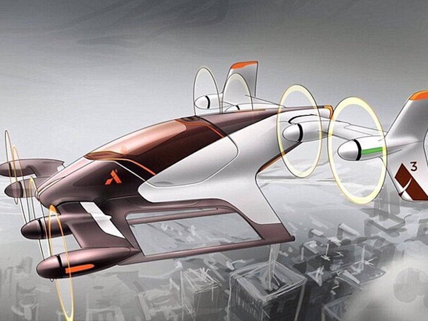 A rendering of a flying car Airbus is building as part of its Project Vahana — Bussiness Insider - Airbus