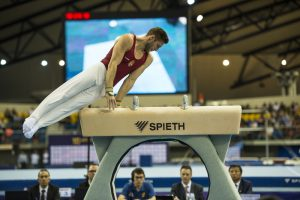 Athlete during the 10th Artistic Gymnastics World Cup Challenge in March, 2017 in Doha, Qatar