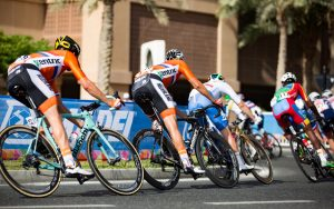 Cyclists in Doha during the elite men's road race at the UCI Road World Championships, 2016.