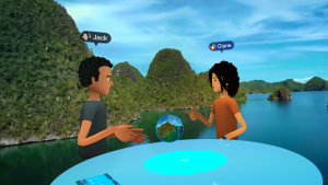 Two friends traveling together on Facebook Spaces