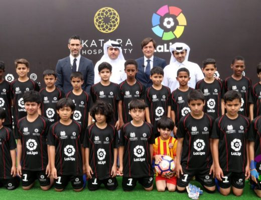 Young Qatari football players at the LaLiga Lounge announcement