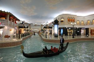 Canal and Gondola inside of the Villaggio Mall Shopping Center in Doha