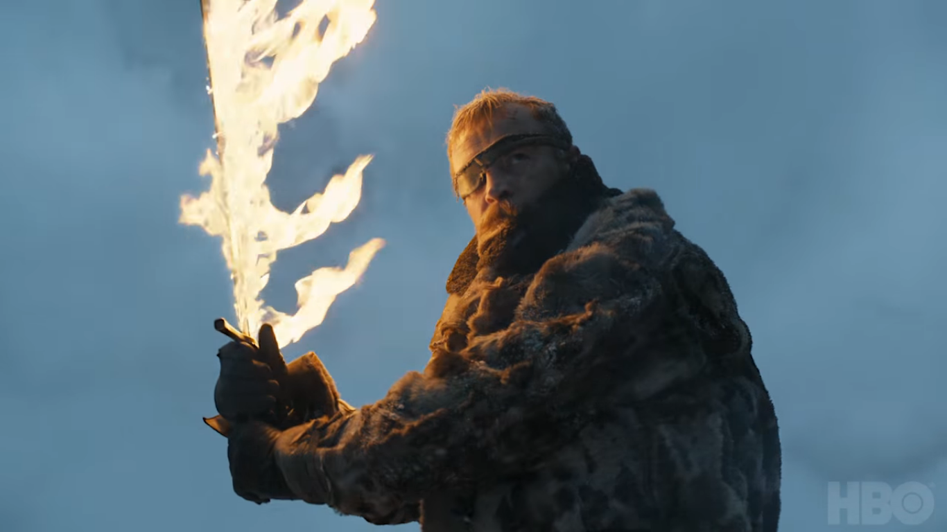 Beric Dondarrion weilding the flaming sword in Game of Thrones season 7