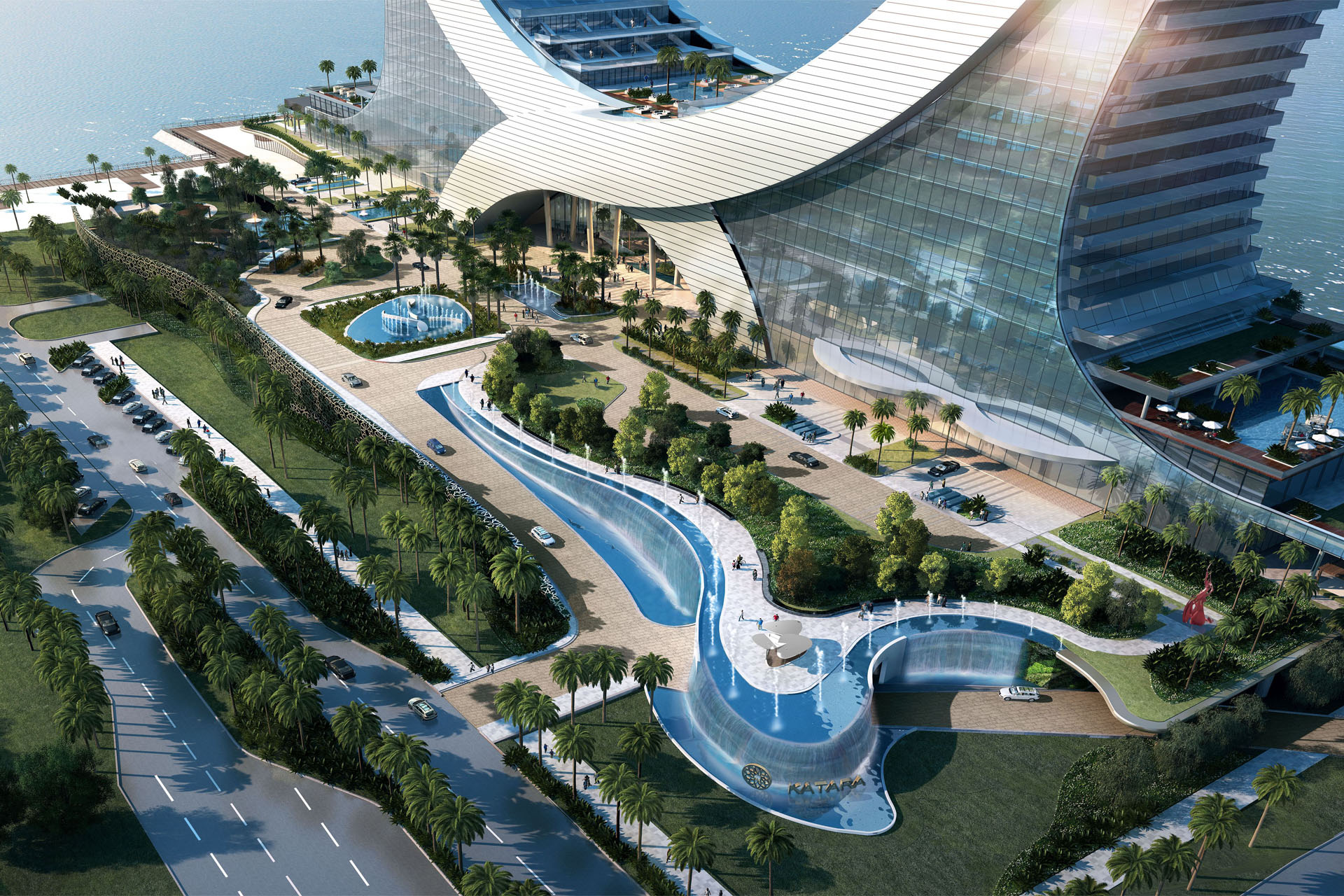 Katara Towers render, Lusail City - Kling Consult