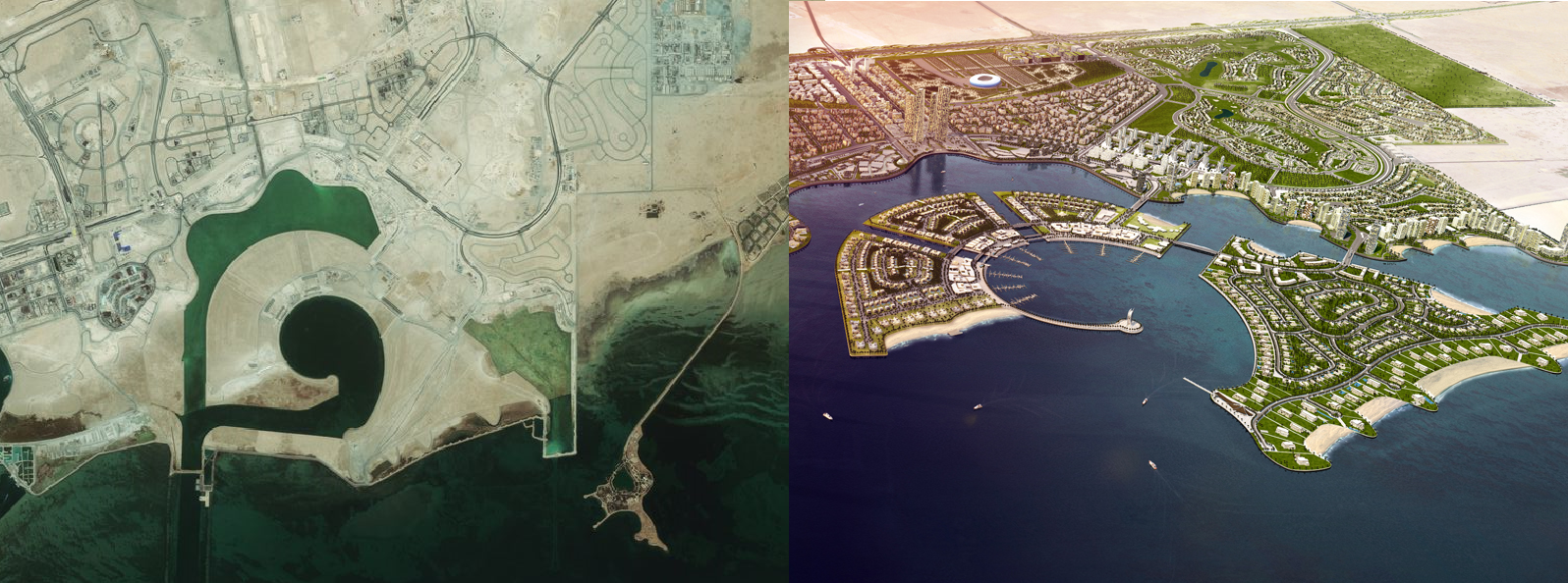 Lusail City satellite image from May 2015 (Left), Lusail City render (Right)