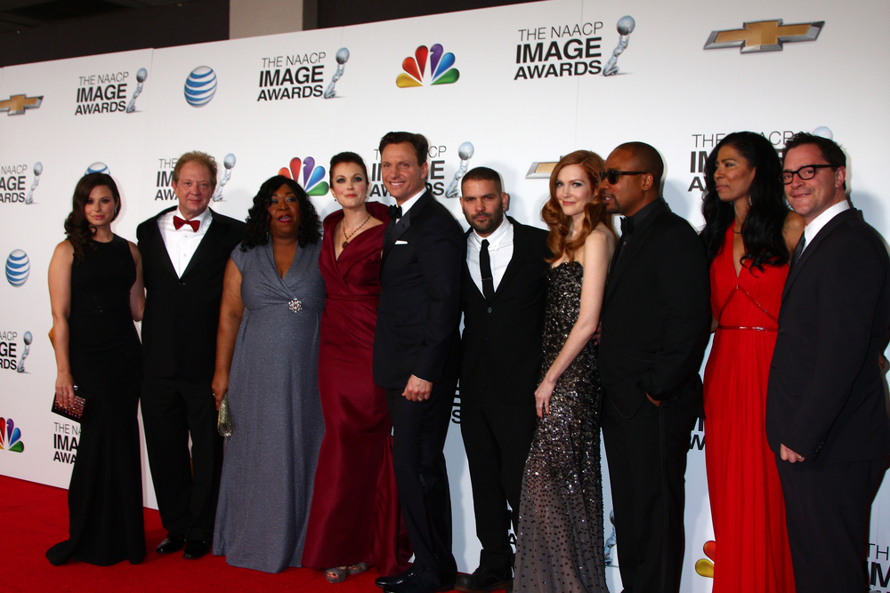 Scandal cast and Shonda Rhimes in February 2013