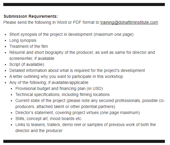 Producers Lab registration requirements - Doha Film Institute