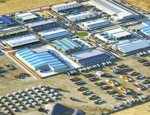 Render of the Jery Al Samur logistics zones in Qatar constructed to attract private sector investors with reduced rental value
