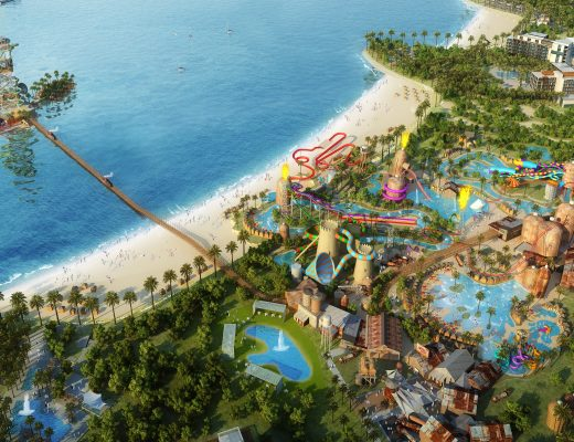 Render of water park and resort in Qetaifan Island North - Katara Hospitality