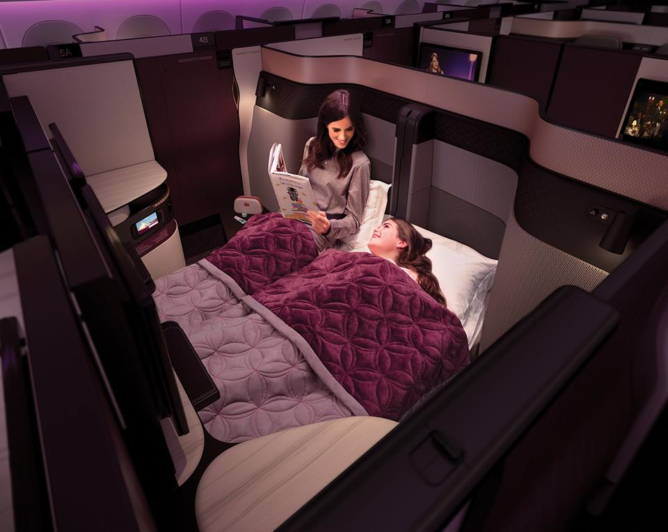 Qatar Airways' Qsuite is the first business class seat to include a double bed