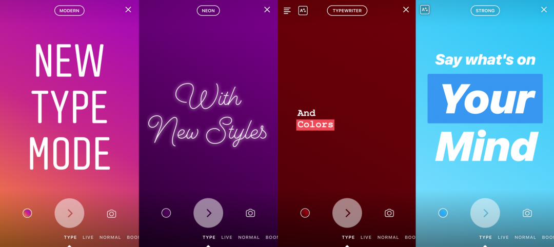 The photo sharing app Instagram added type mode to stories