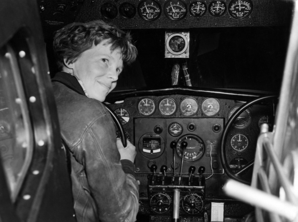 Amelia Earhart in her Lockheed L- 10E Electra preparing for her circumnavigational flight around the globe, 1937