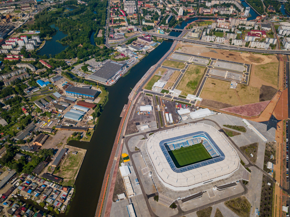 Aerial view of the city with the Kaliningrad Stadium.