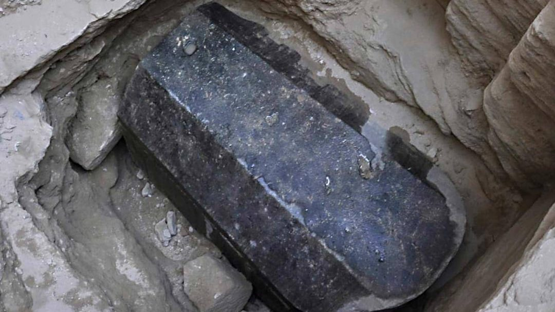 this black sarcophagus is believe to be the one of Alexander the great that ptolemy stole