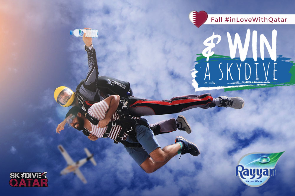 Live the ultimate skydiving adventure with Rayyan Water and Skydive Qatar