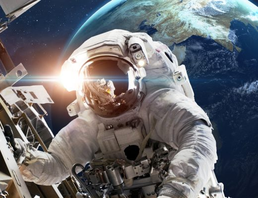 A NASA astronaut in outer space