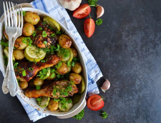 Sriracha Chicken and veggies in a pot