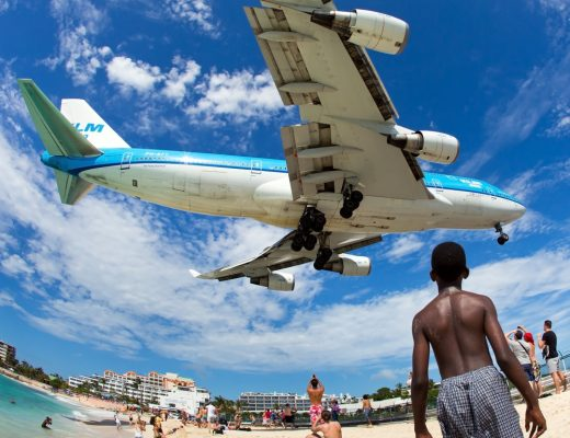 Airplane landing in Princess Juliana International Airport in St. Maarten one of the World's Scariest Airports