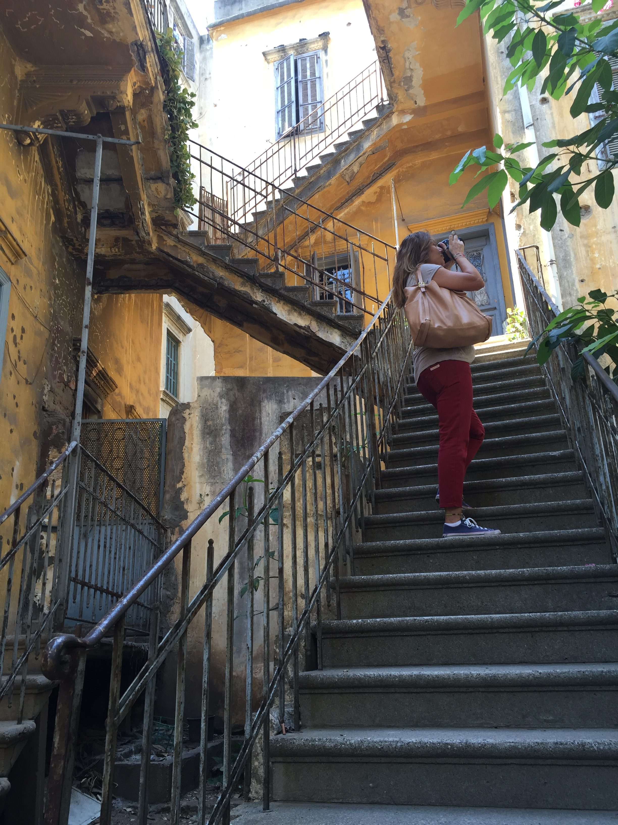 A staircase connecting several buildings in Old Beirut