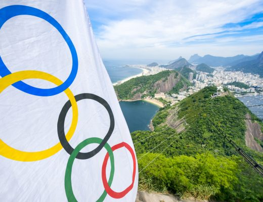 The Olympic flag overlooking the city of Rio De Janeiro in Brazil, the host city of the Rio 2016 Olympics