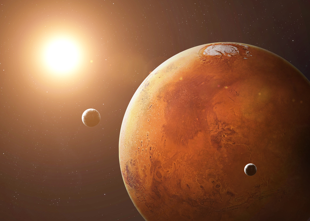 The planet Mars as seen from space, its surface once had water and oxygen