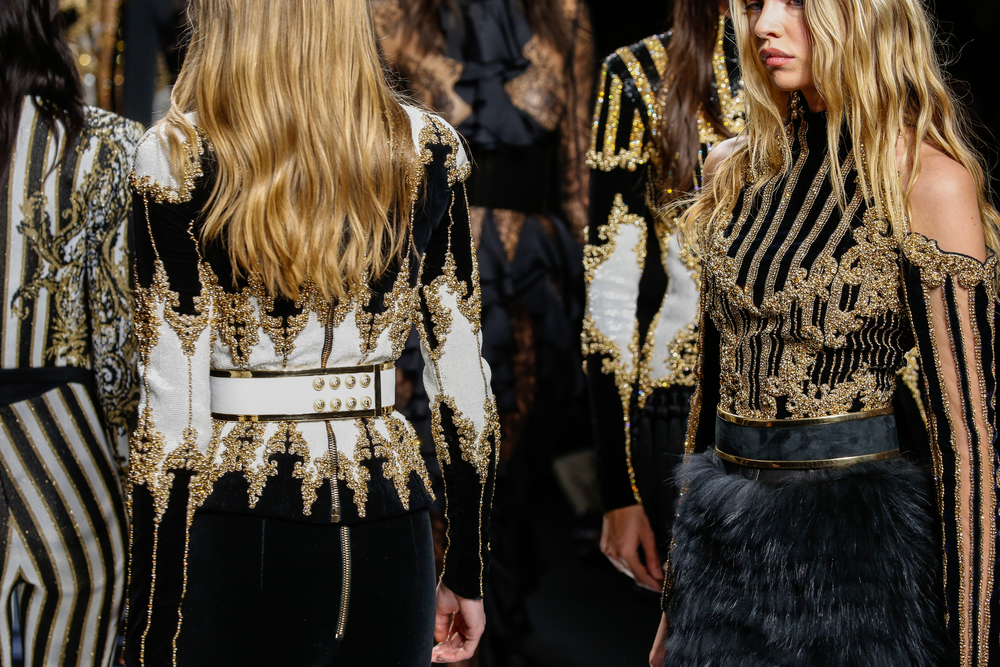 Models walk the runway during the Balmain show as part of the Paris Fashion Week Womenswear FallWinter 2016-2017 in March, 2016 in Paris, France