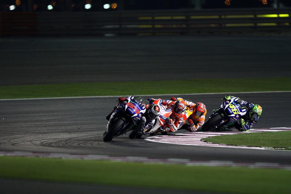 Spanish Yamaha rider Jorge Lorenzo in the lead at 2016 Qatar MotoGP at Losail circuit on March 20, 2016