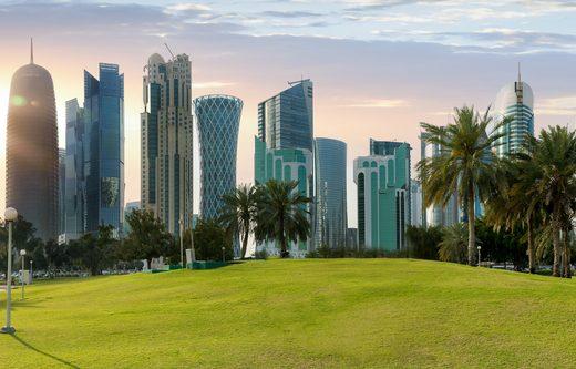skyline of Doha before sunset