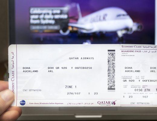 Boarding pass to a Qatar Airways flight