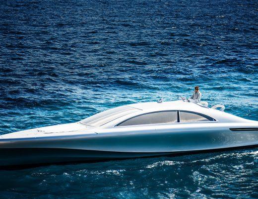 "Mercedes-Benz Arrow460-Grandturismo yacht nicknamed the ""Silver Arrow of the Seas"""